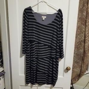 Black and gray striped Loft Dress